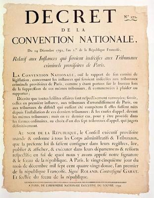 Decree of the National Convention, 24th December 1792