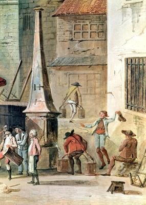 The Place de l'Apport-Paris in Front of the Grand Chatelet, detail of watercarriers, before 1802