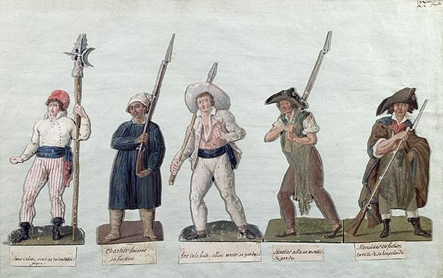 A Sans Culotte with his Pike, a Carter, a Market Porter, a Cobbler and a Carpenter