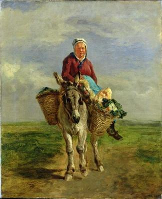 Country Woman Riding a Donkey