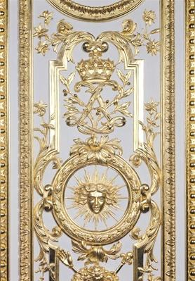 Detail of panelling depicting the crown and monogram of Louis XIV