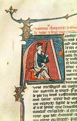 Ms 682 fol.17v Historiated initial 'A' depicting a seated king holding a double-edged sword
