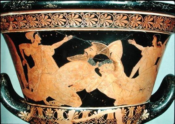 Attic red-figure calyx-krater depicting Herakles wrestling with Antaeus, from Cervetri, c.510 BC