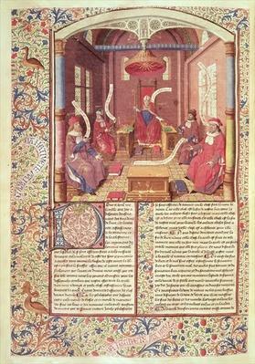 Ms 246 fol.354v St. Augustine, Epicurus, Zeno, Antiochus and Varron, from 'De Civitae Dei' by St. Augustine of Hippo