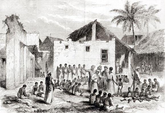 The Slave Market in Zanzibar, from 'Voyage de Livingstone en Afrique', after 1866