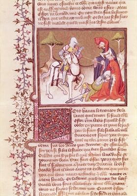 Ms 3479 fol.516 And so he pulled the lance from the dying knight, from the 'Livre de Messire Lancelot du Lac'