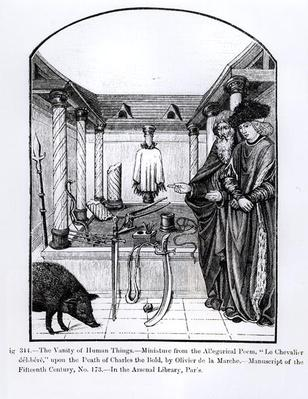 The Vanity of Human Things, from 'Le Chevalier delibere', an allegorical poem by Olivier de la Marche upon the death of Charles the Bold