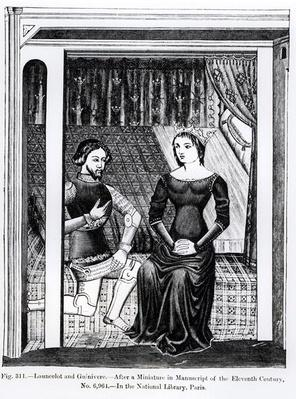 Lancelot and Guinivere, from a manuscript containing the Arthurian Legend, illustration from 'Science and Literature in the Middle Ages and Renaissance', written and engraved by Paul Lacroix, 1878