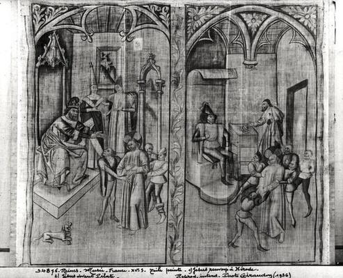 Christ before Herod, Christ before Pilate, one of four sets for a performance of the Mystery of the Passion, from Hotel-Dieu, Reims