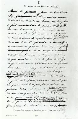 'Le Soir d'un Jour de Marche', facsimile of a page from the manuscript 'Les Miserables' by Victor Hugo