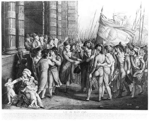 Deputies of the National Convention leaving the Assembly at the Tuileries, 31st May 1793, engraved by Jean Joseph Tassaert