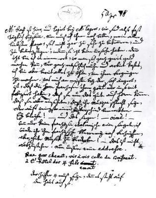 Letter from Mozart to his Father, 5th April 1778