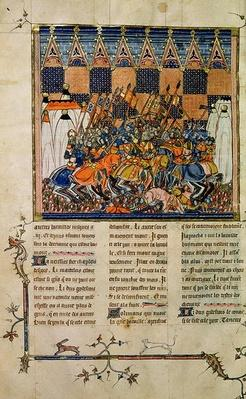 Ms Fr. 352 fol. 49v Battle scene, from the biography of Godefroi de Buillon, 'A History of Western Saints'