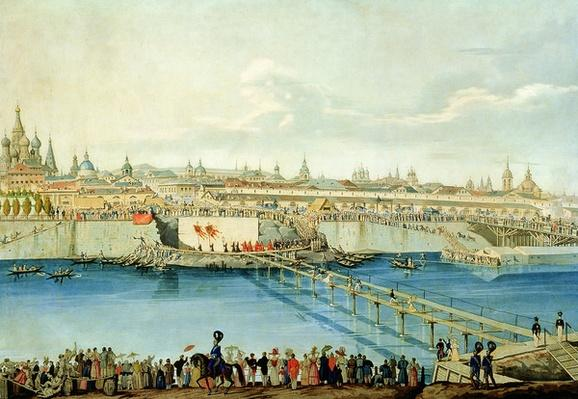 Laying of the Moskvoretsky Bridge in Moscow, 1830