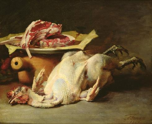 Still Life of a Chicken and Cutlets, 1876