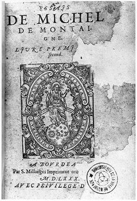 Titlepage of the first edition of 'Essais' by Michel de Montaigne