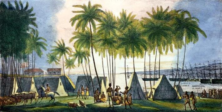 Port of Hanarourou in the Sandwich Islands, from 'Voyage Pittoresque autour du Monde', engraved by G. Langlume