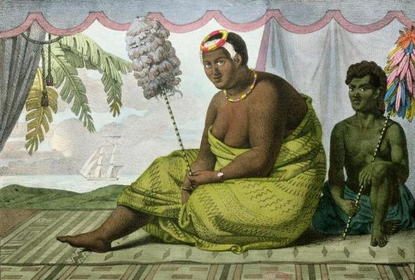 Ka'ahumanu, Queen of the Sandwich Islands, from 'Voyage Pittoresque autour du Monde', engraved by G. Langlume