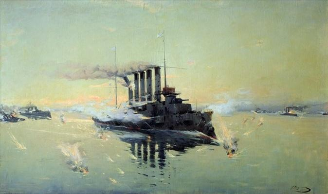 Cruiser 'Askold' fighting on July 28th 1904 in the Yellow Sea, 1906