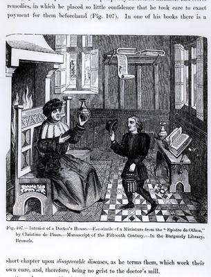 Interior of a Doctor's House, from 'Epistre d'Othea' by Christine de Pisan, illustration from 'Science and Literature in the Middle Ages and Renaissance', written and engraved by Paul Lacroix, 1878