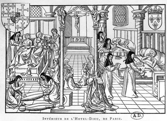 A Ward in the Hotel-Dieu, Paris, from 'Science and Literature in the Middle Ages and Renaissance', written and engraved by Paul Lacroix
