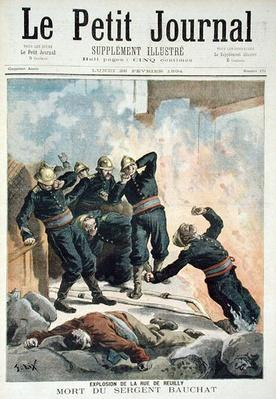 Explosion in the Rue de Reuilly and the Death of Sergeant Bauchat, from 'Le Petit Journal', 26th February 1894