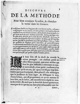 First page of 'Discours de la Methode' by Rene Descartes