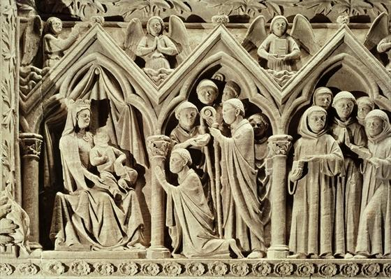 Relief depicting the Presentation of the Monks to the Virgin by St. Etienne of Aubazine, from the Tomb of St. Etienne