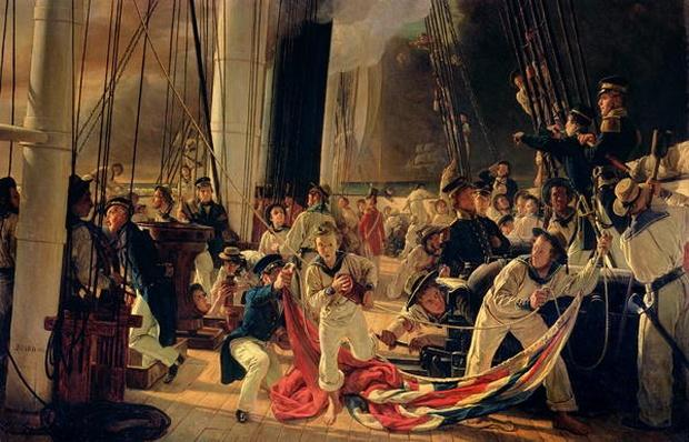 On the deck during a sea battle, 1855