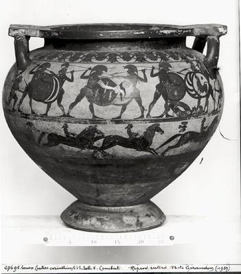 Warriors fighting, reverse of the 'Krater of Eurytios', Corinthian style, from Cerveteri, c.600 BC