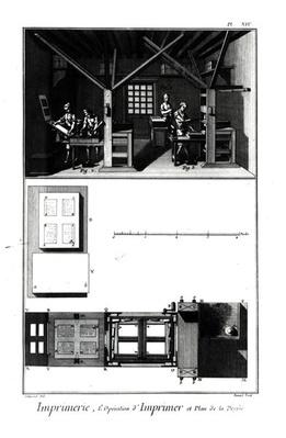 Interior of a Printing Works and Plan of a Press, plate from 'Encyclopedia' by Denis Diderot