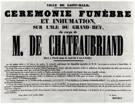 Poster for the Funeral of Francois Rene de Chateaubriand