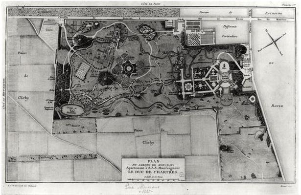 Plan of Parc Monceau in Paris belonging to the Duke of Chartres