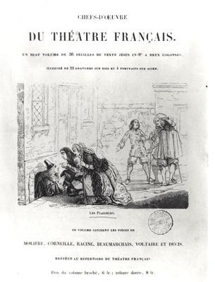 Frontispiece for 'Chefs d'Oeuvre du Theatre Francais' with an illustration for 'The Litigants' by Jean Racine
