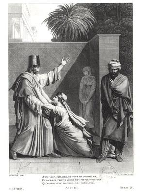 Esther Imploring Assuerus in the Presence of Aman, illustration from 'Esther' by Jean Racine