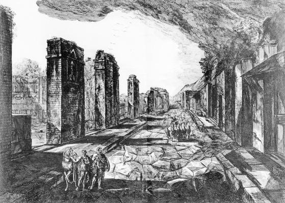 View of the Tavern of Pompeii with the Priapus Shop Sign, from 'Antiquites de Pompeia' by G.B. Piranesi, engraved by Francesco Piranesi