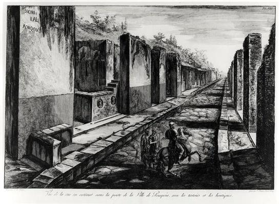 View of the Street of the Gateway of the city of Pompeii, from 'Antiquites de Pompeia' by G.B. Piranesi, engraved by Francesco Piranesi