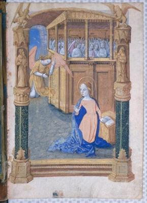 Ms Lat. Q.v.I.126 fol.12v The Annunciation, from 'Book of Hours of Louis d'Orleans', 1490
