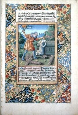 Ms Lat. Q.v.I.126 fol.19 The sacrifice of Isaac, from 'Book of Hours of Louis d'Orleans', 1490