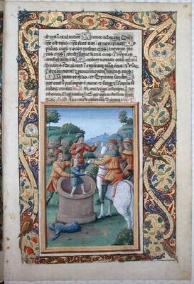 Ms Lat. Q.v.I.126 fol.20 Joseph being retrieved from the well and sold to the Ishmaelites, from the 'Book of Hours of Louis d'Orleans', 1490