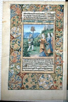 Ms. Lat. Q.v.I.126 fol.34v David with the head of Goliath, from the 'Book of Hours of Louis d'Orleans', 1490