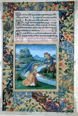 Ms Lat.Q.v.I.126 f.40 Tobias and the Angel, from the 'Book of Hours of Louis d'Orleans', 1469
