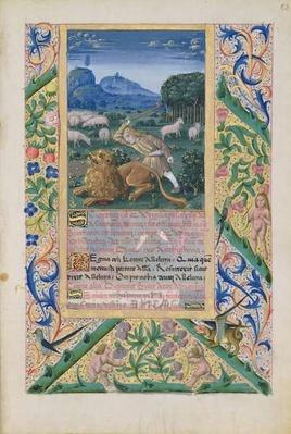 Ms Lat. Q.v.I.126 f.53 David defending his father's sheep against a lion, from the 'Book of Hours of Louis d'Orleans', 1469