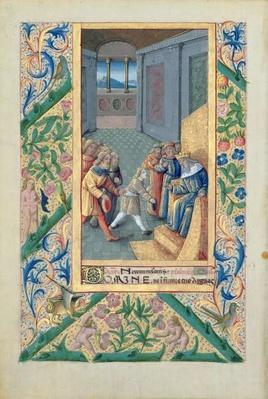 Ms Lat. Q.v.I.126 f.53v David being sent to Saul, from the 'Book of Hours of Louis d'Orleans', 1469