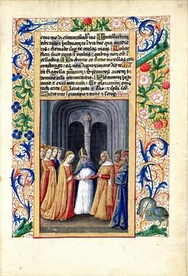 Ms Lat. Q.v.I.126 f.55 The marriage of Michal to David, from the 'Book of Hours of Louis d'Orleans', 1469