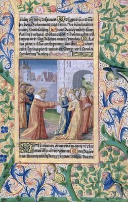 Ms Lat. Q.v.I.126 f.57 King David coveting Bathsheba, from the 'Book of Hours of Louis d'Orleans', 1469