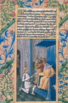 Ms Lat. Q.v.I.126 f.58v David sending Uriah to his death, from the 'Book of Hours of Louis d'Orleans', 1469
