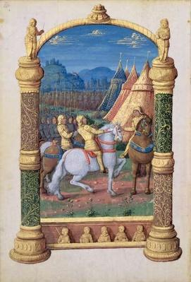 Ms Lat. Q.v.I.126 f.63v David and Absalom at war for the Crown, from the 'Book of Hours of Louis d'Orleans', 1469