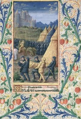 Ms Lat. Q.v.I.126 f.64 The death of Absalom, from the 'Book of Hours of Louis d'Orleans', 1469