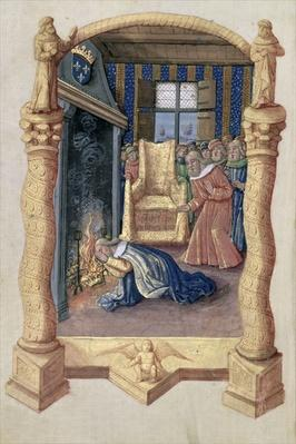 Ms Lat. Q.v.I.126 f.66v David mourning the death of his son Absalom, from the 'Book of Hours of Louis d'Orleans', 1469